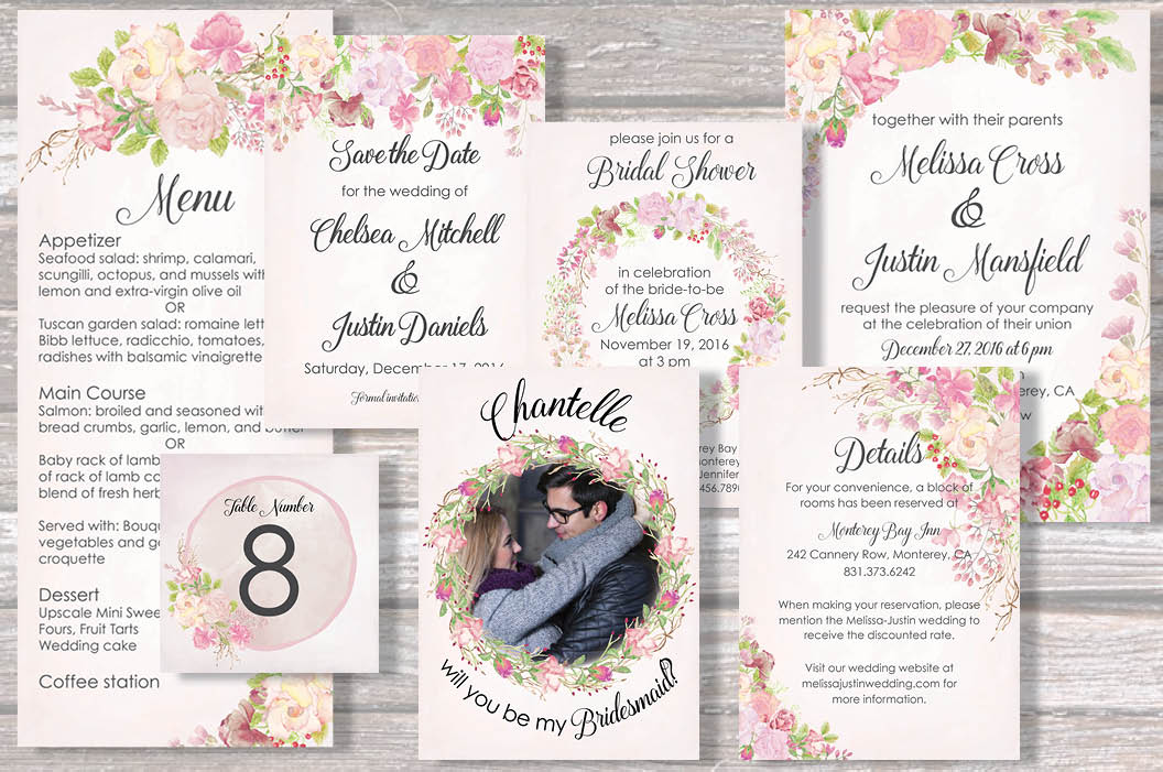 Wedding clip art bundle in blush roses example image 2