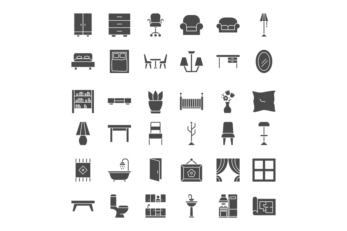 Furniture Line Art Icons example image 3