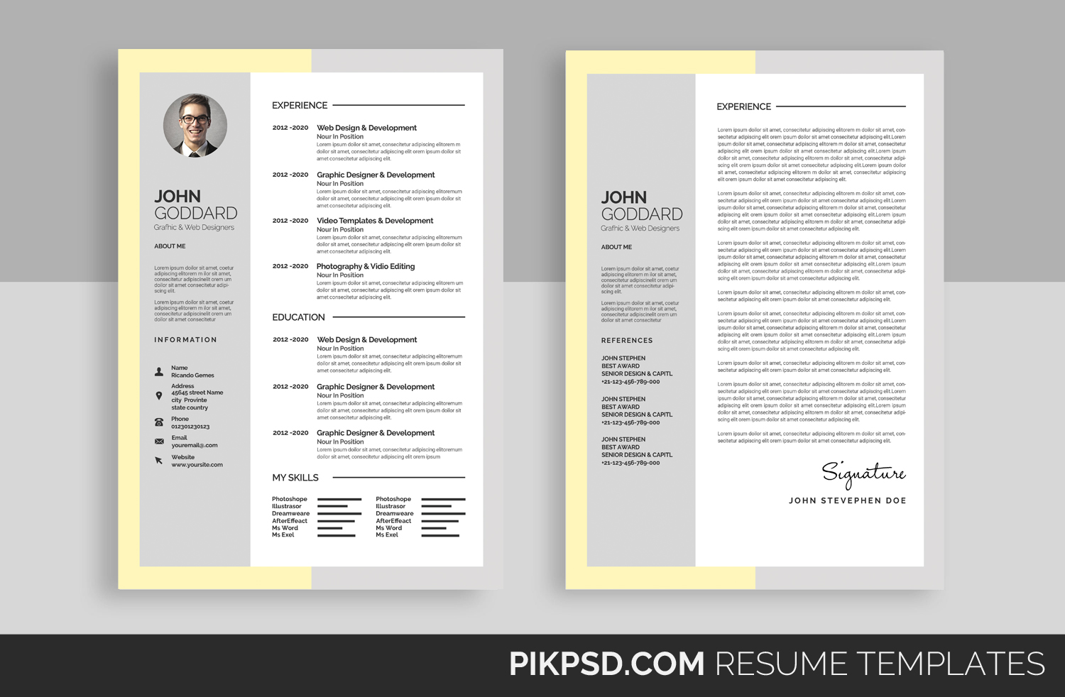 material design resume  cv set