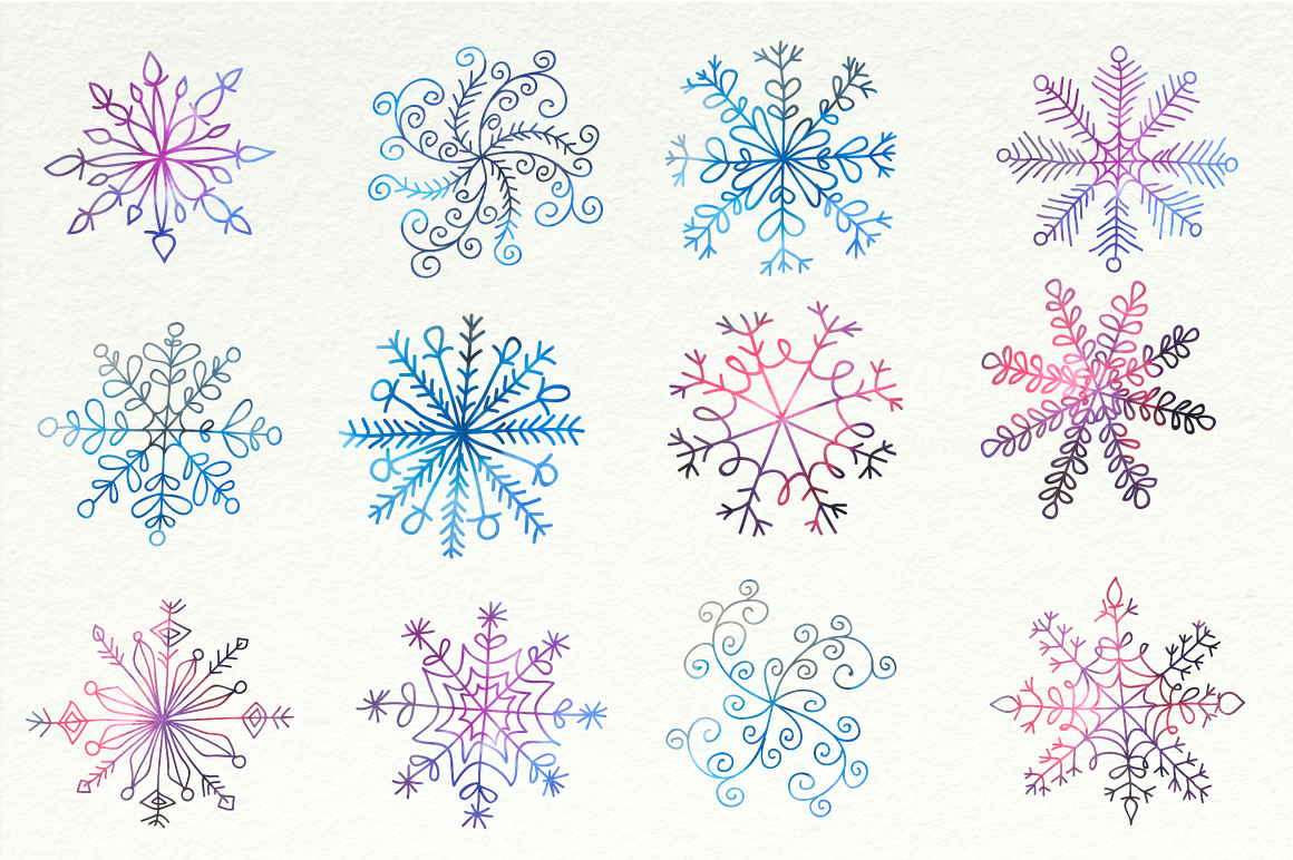 Watercolor Snowflakes Set Vol.1 example image 2