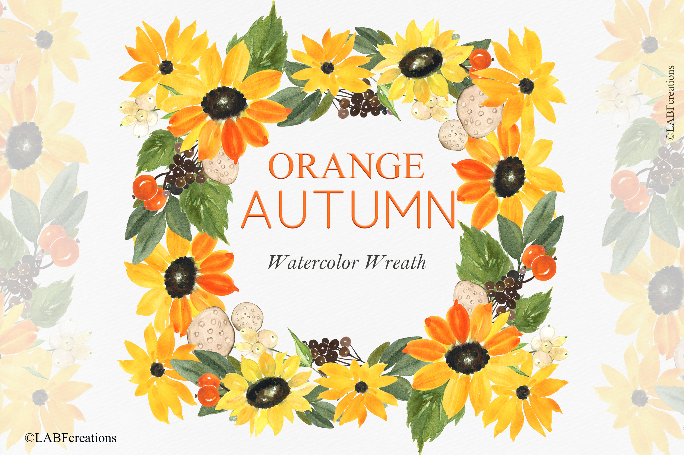 Orange, red and burgundy autumn flowers collection. example image 12