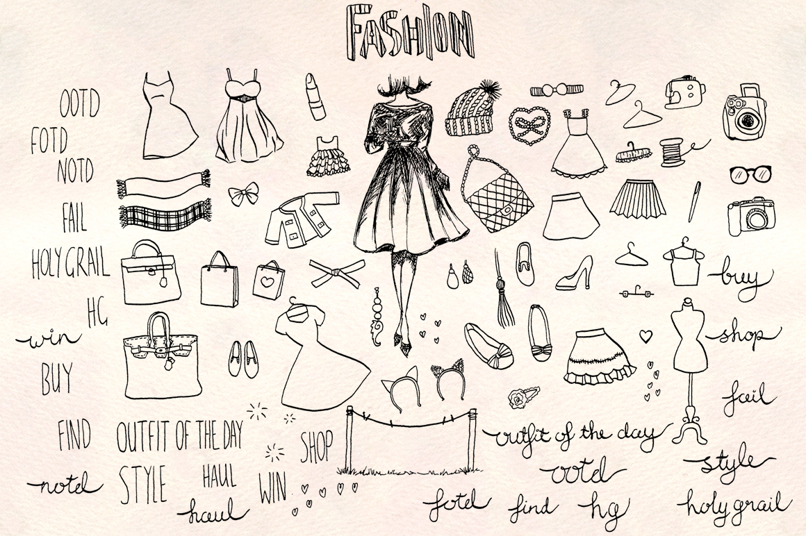Fashion Blogger Vector Sketches Bundle example image 1