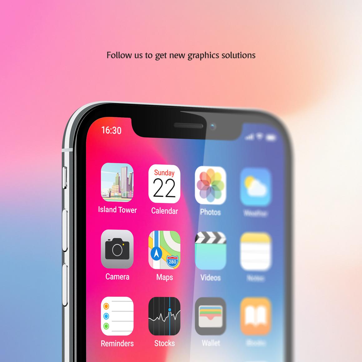 Phone App Mockups Set example image 8