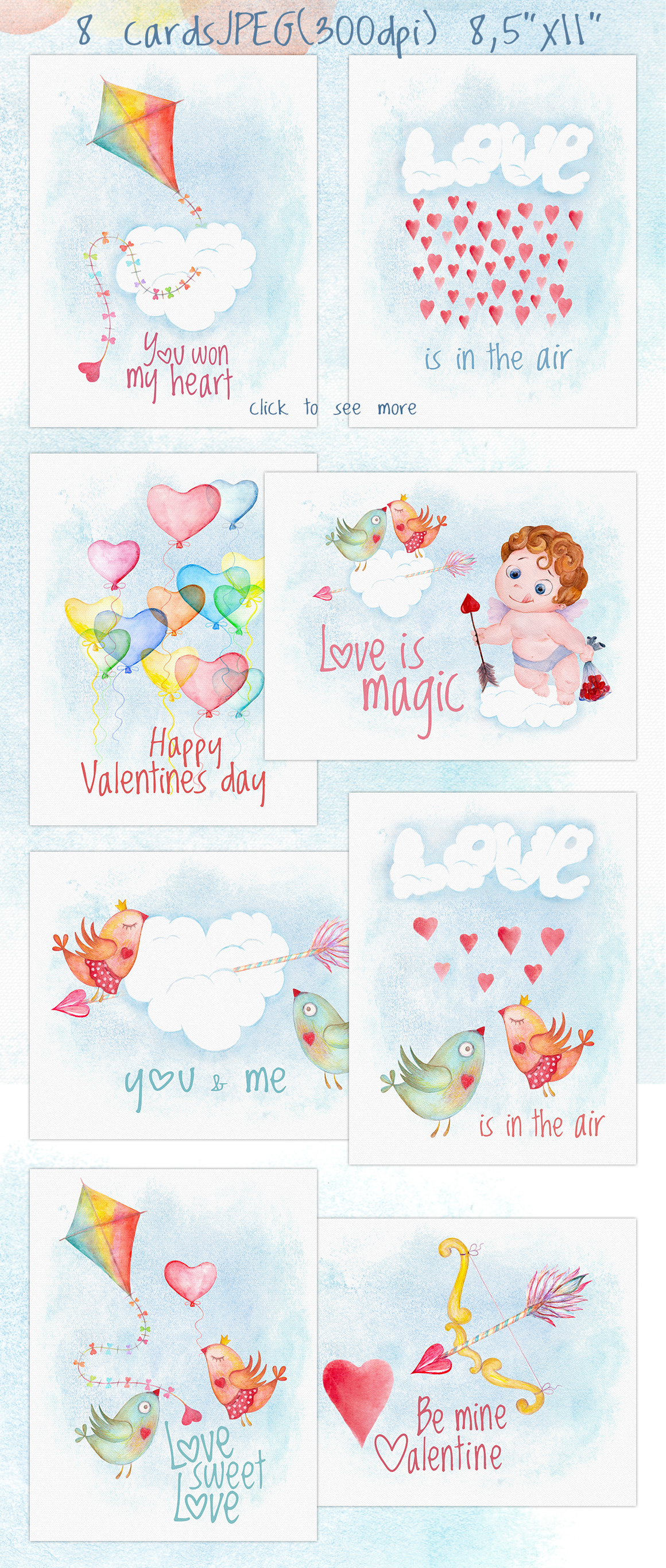 Romantic watercolor set. Love is in the air example image 4