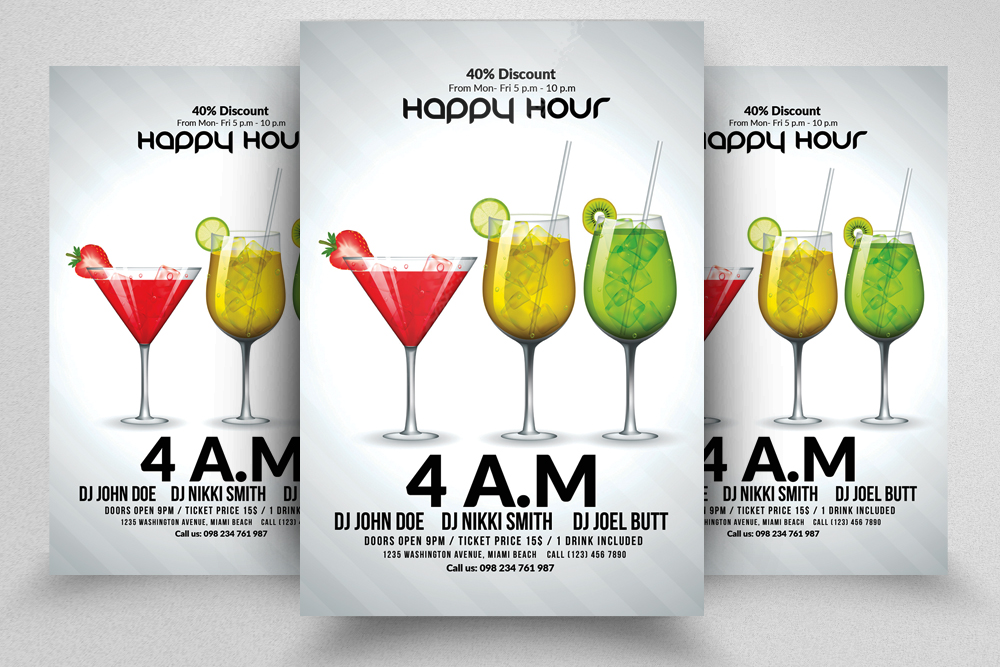 10 Happy Hour Flyer Template Bundle example image 10