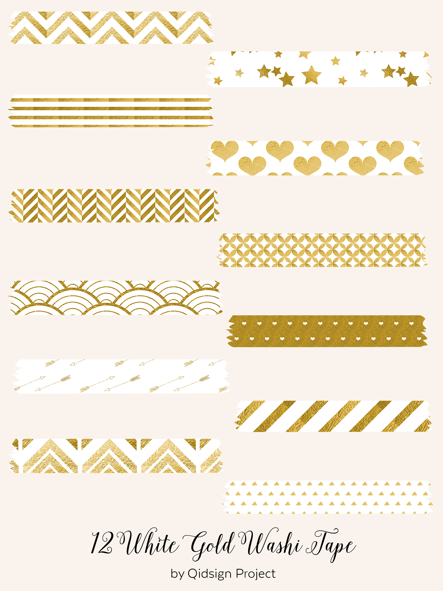 12 White Gold Washi Tape .PNG example image 2