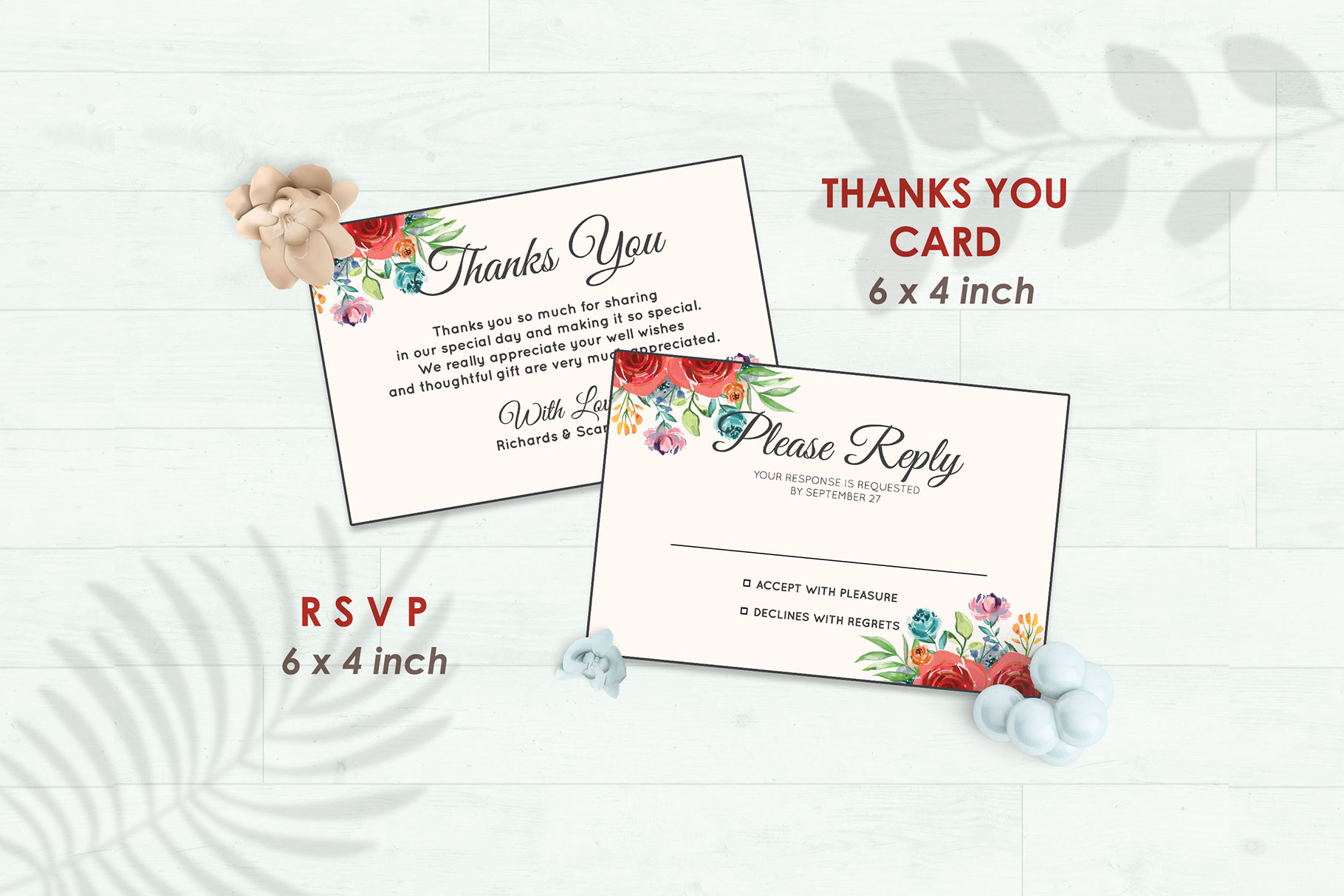 Wedding Invitation Set #4 Watercolor Floral Flower Style example image 4
