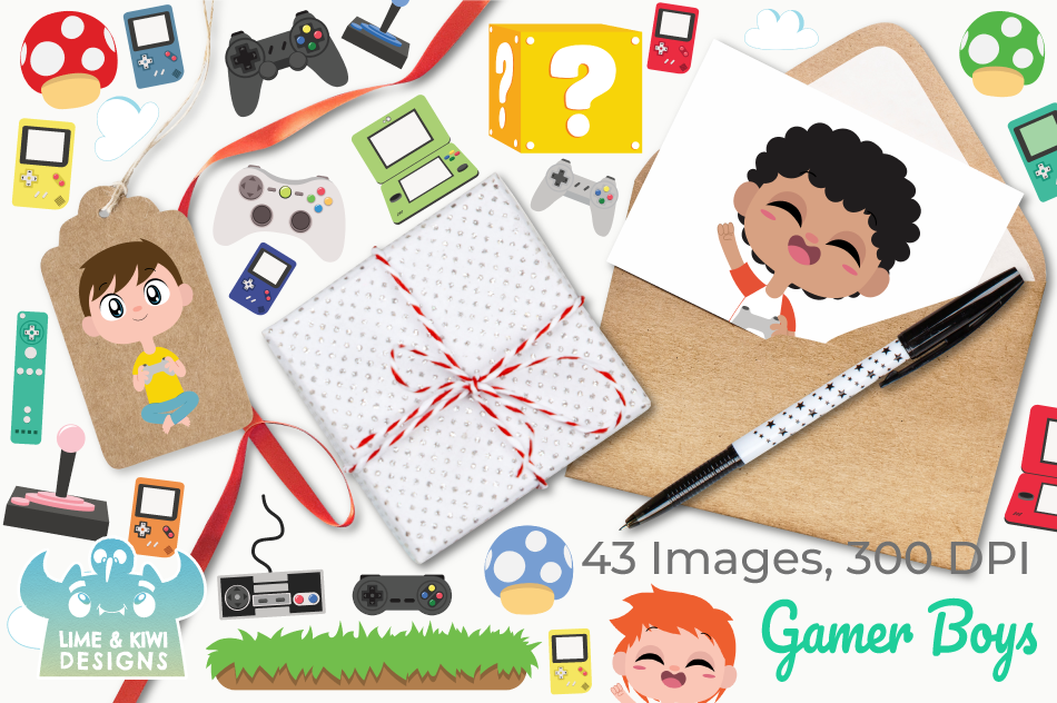 Gamer Boys Clipart, Instant Download Vector Art example image 4