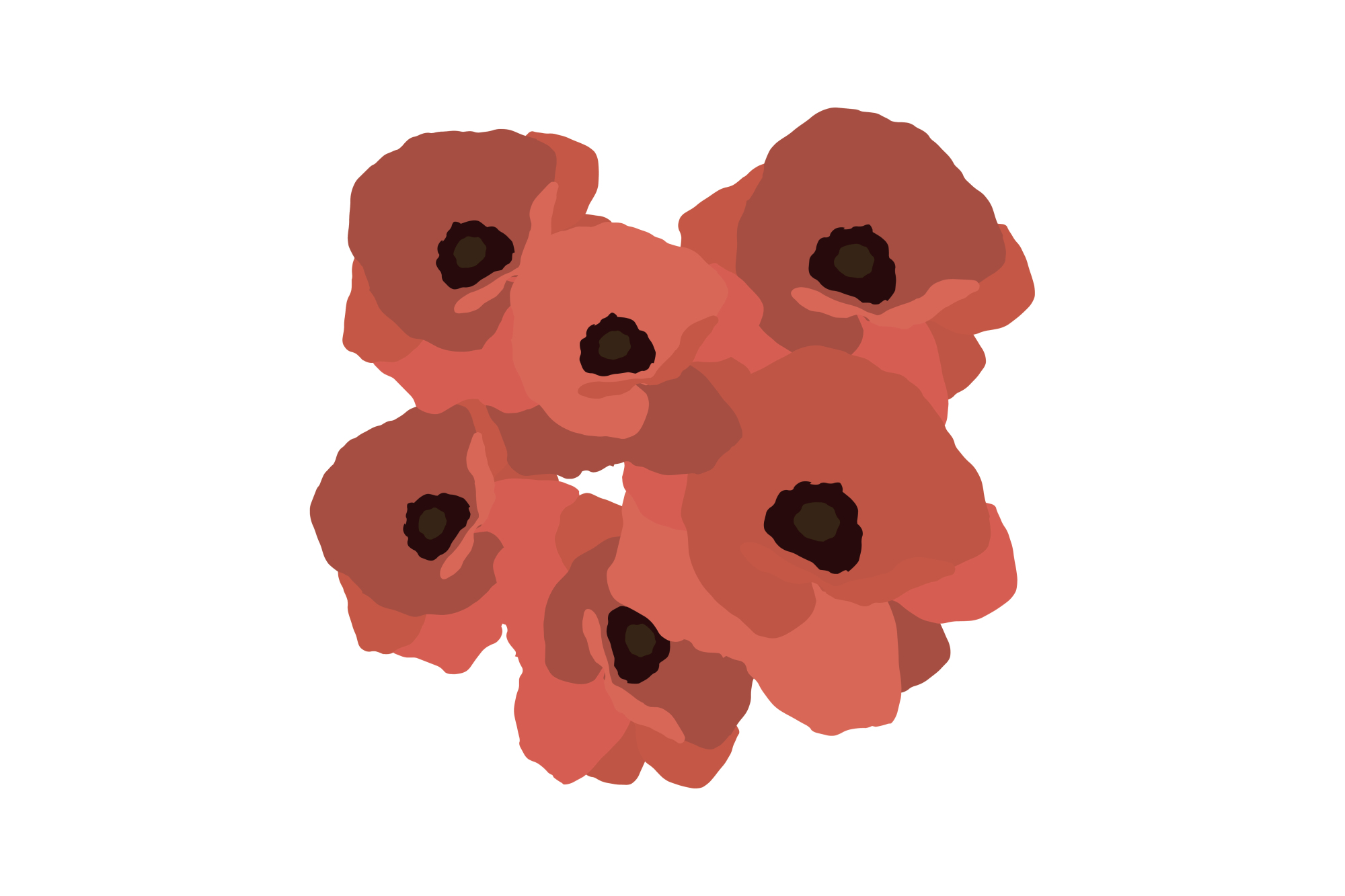 Greeting card with decorative red poppies. Poster. Vector illustration.  example image 1
