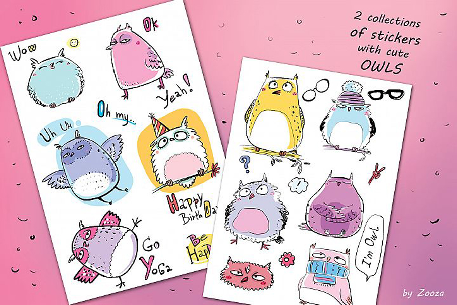 Funny Owls Bundle - 3 collections in 1 pack example image 10