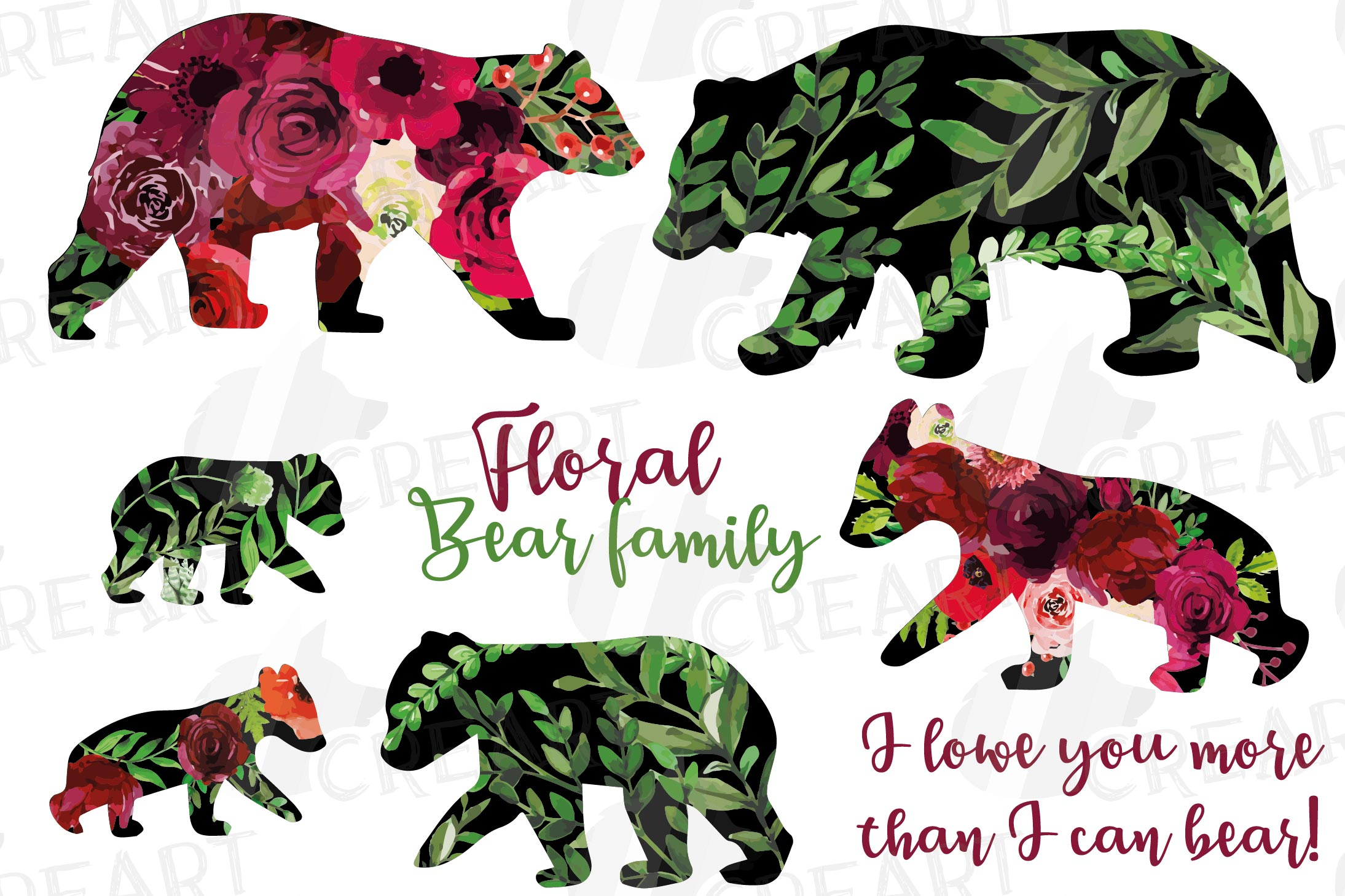 Floral bear family, sister, brother, baby, papa, mama bear example image 2
