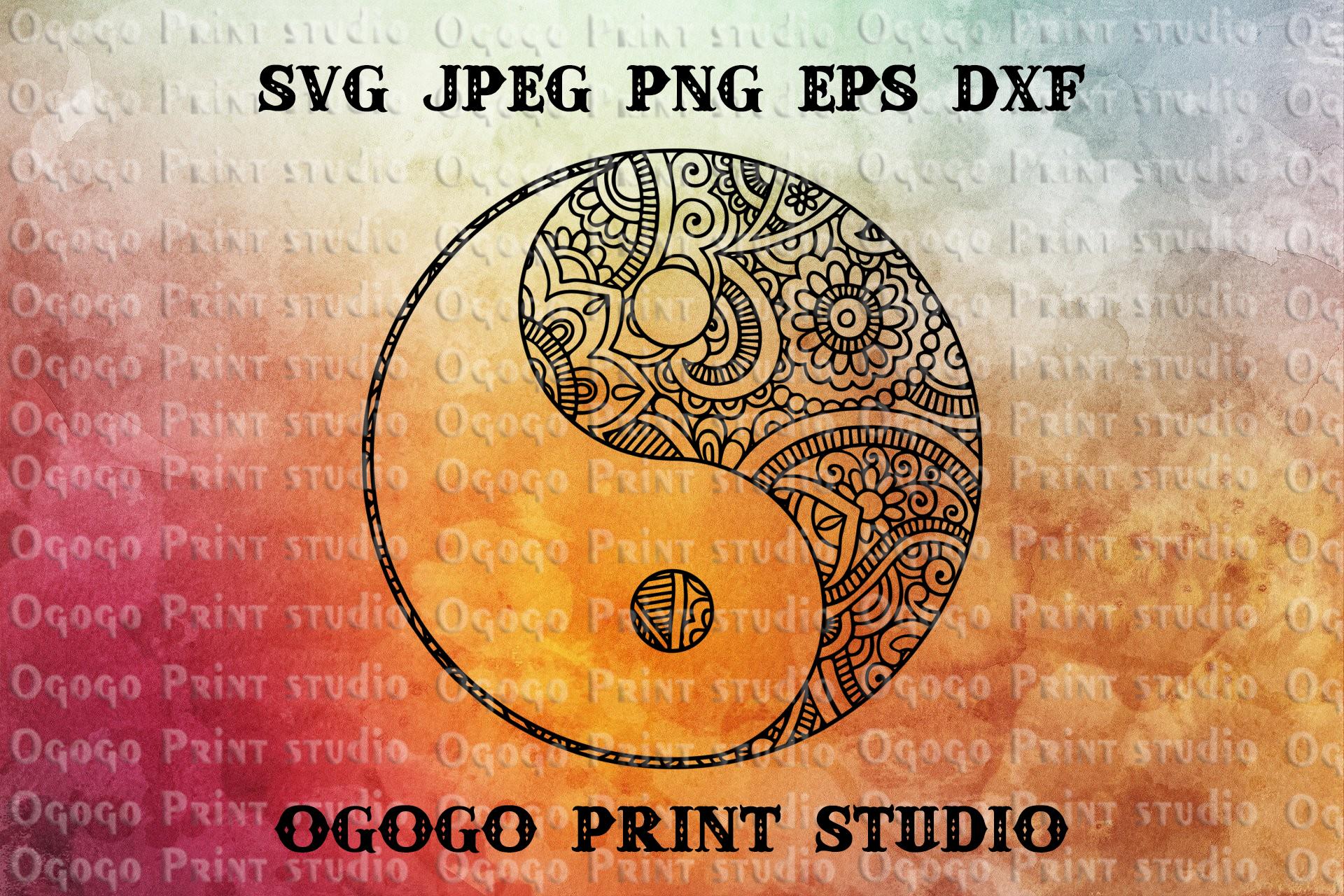 Yin-Yang SVG, Zentangle SVG, Peace svg, Mandala svg, Cricut example image 1