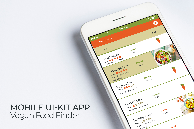 Mobile Ui-Kit | Vegan Food Finder App - 6 PSD Templates example image 3