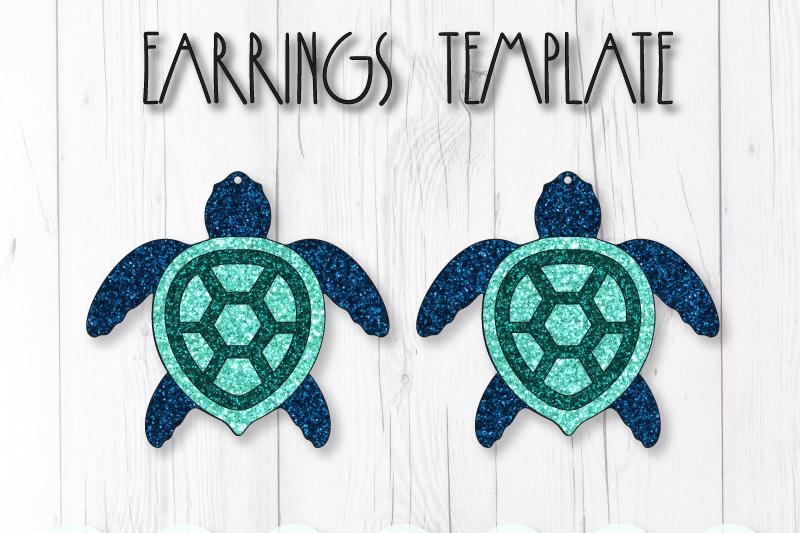 Sea turtle earrings template SVG, DIY earrings template example image 1