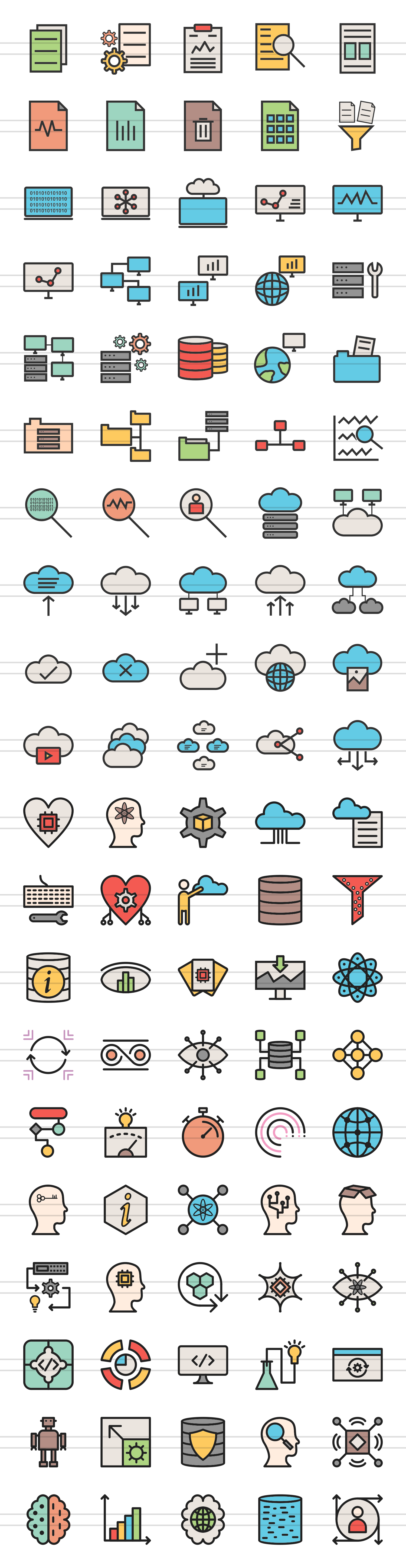 100 Data Filled Line Icons example image 2