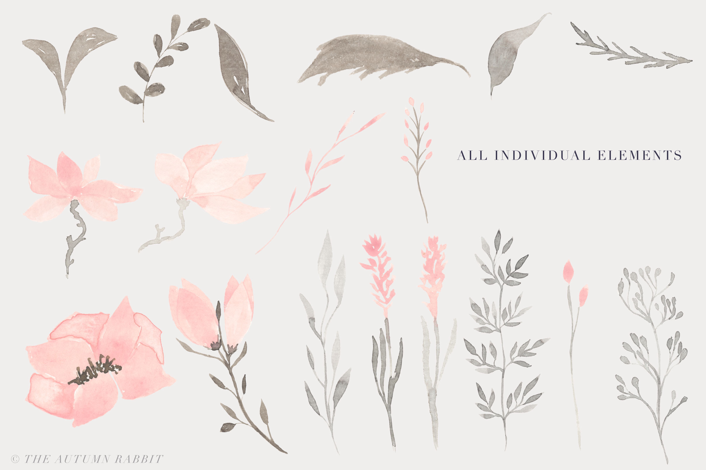 Watercolor Floral Clipart - Harmony example image 2