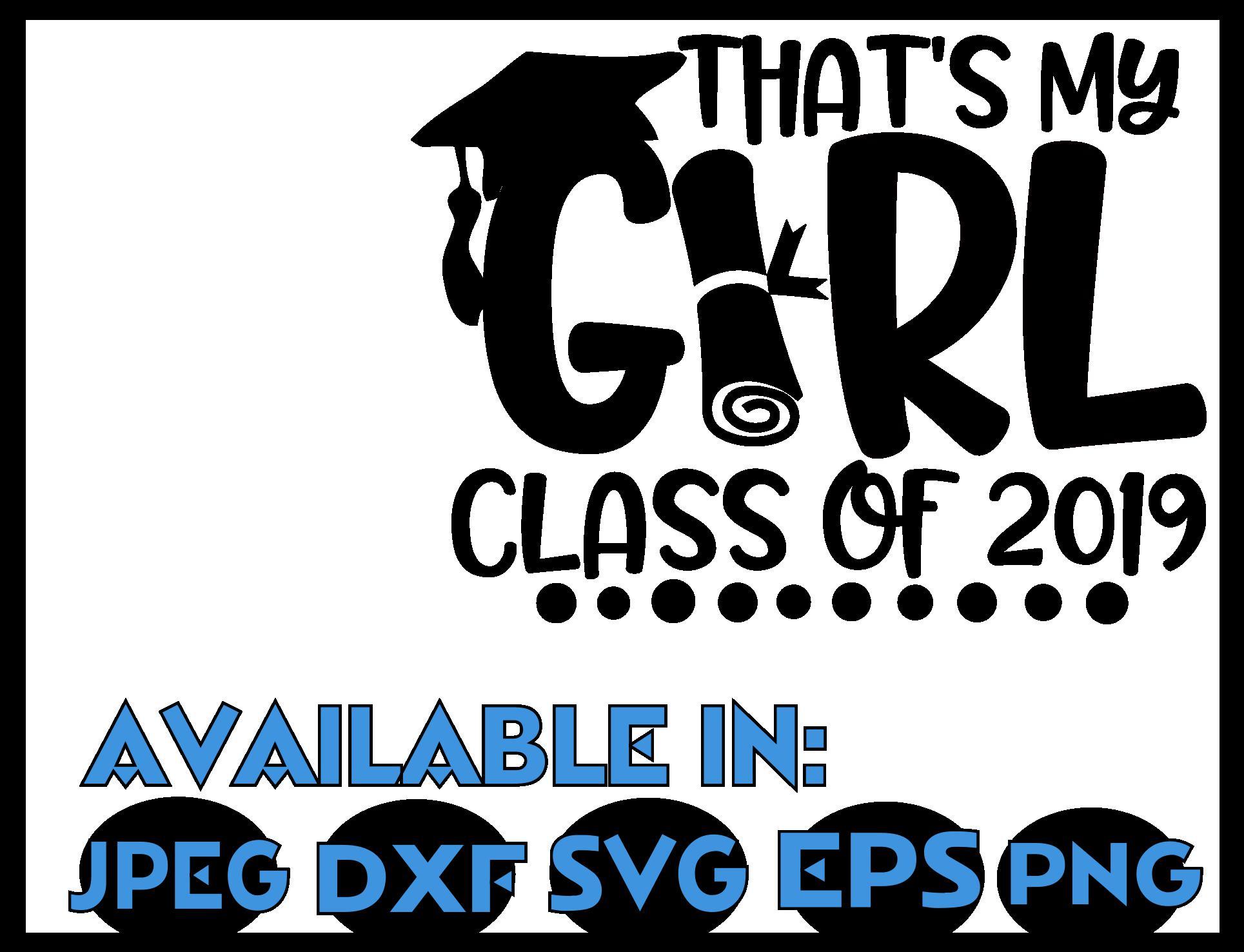 Graduation SVG DXF JPEG Silhouette Cameo Cricut Class of 19 example image 3
