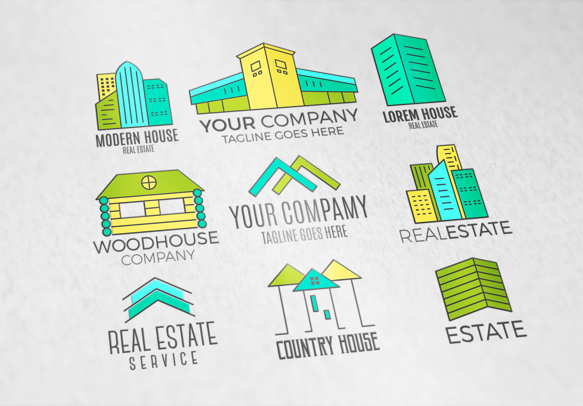 Real Estate Logo Set. LineArt example image 3