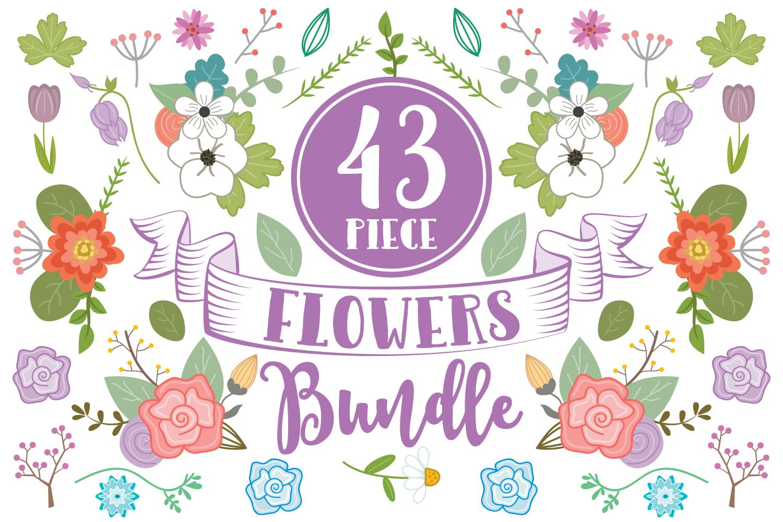 43 Piece Floral Flowers Clip Art Bundle example image 1