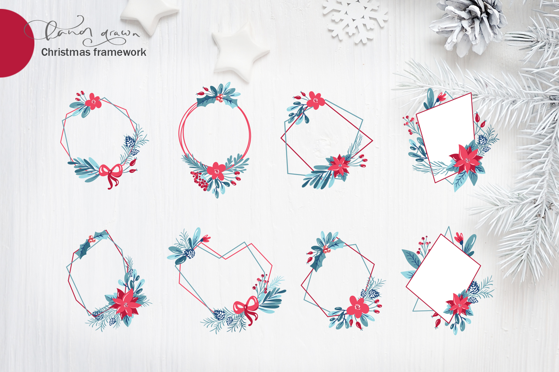 Christmas floral holiday elements example image 6