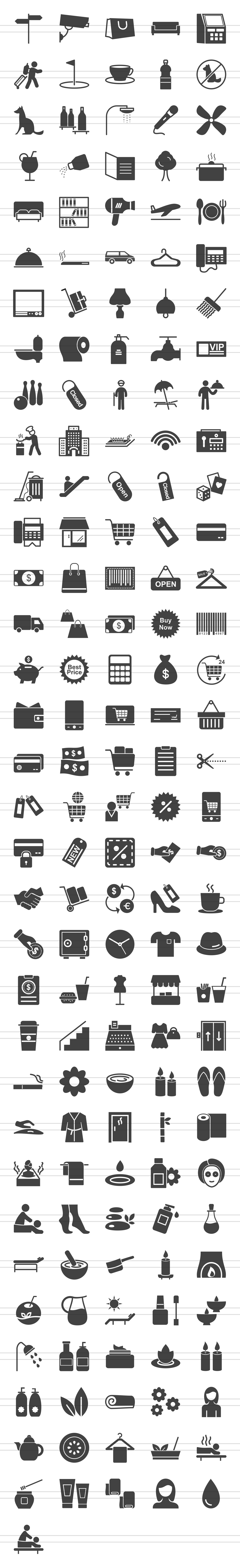 166 Hotel & Relaxation Glyph Icons example image 2