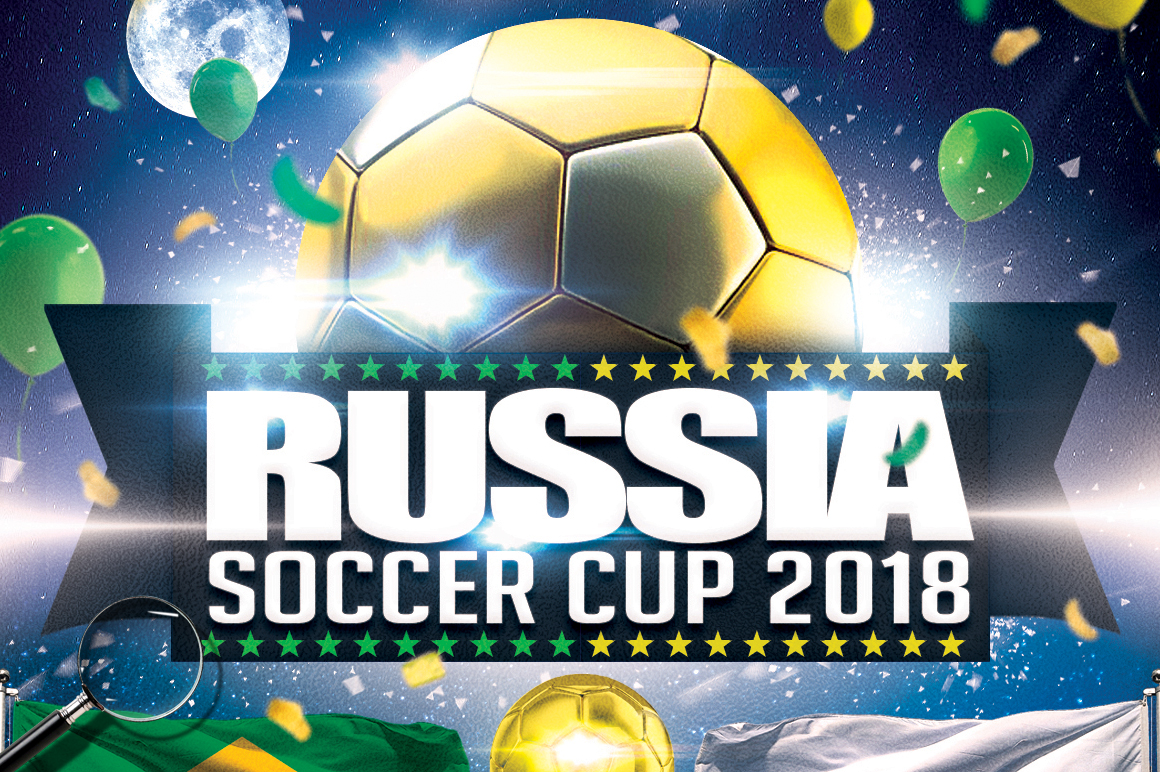 Soccer Russia World Cup 2018 | 2in1 Flyer Template example image 8