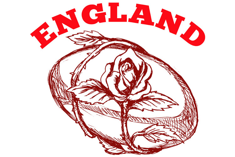 England rugby ball with English rose flower example image 1