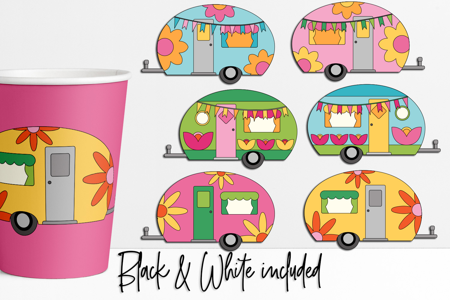Flower Power Happy Camper Illustrations example image 1