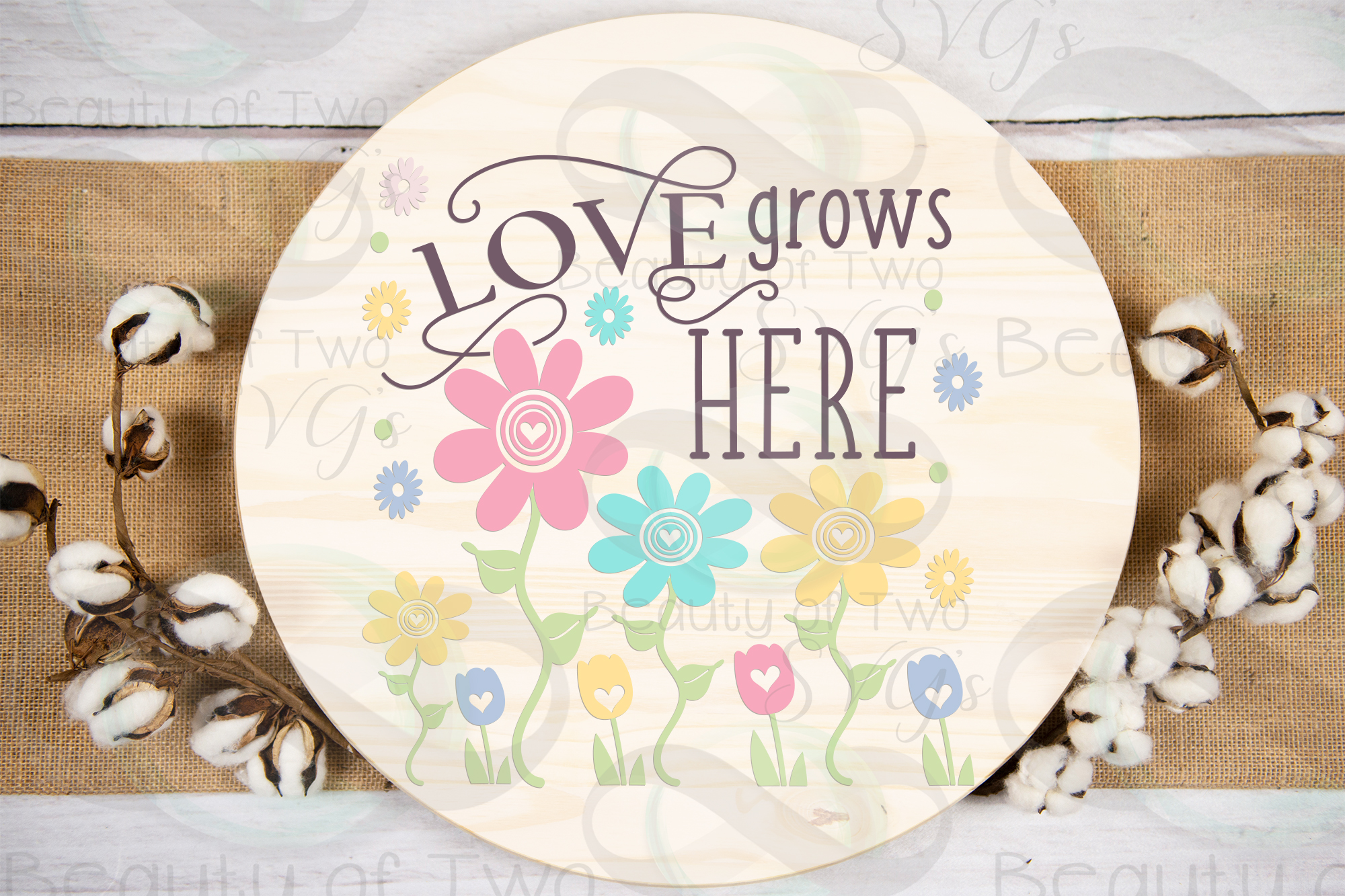 Spring Flowers svg, Love Grows Here Farmhouse svg, Spring example image 2