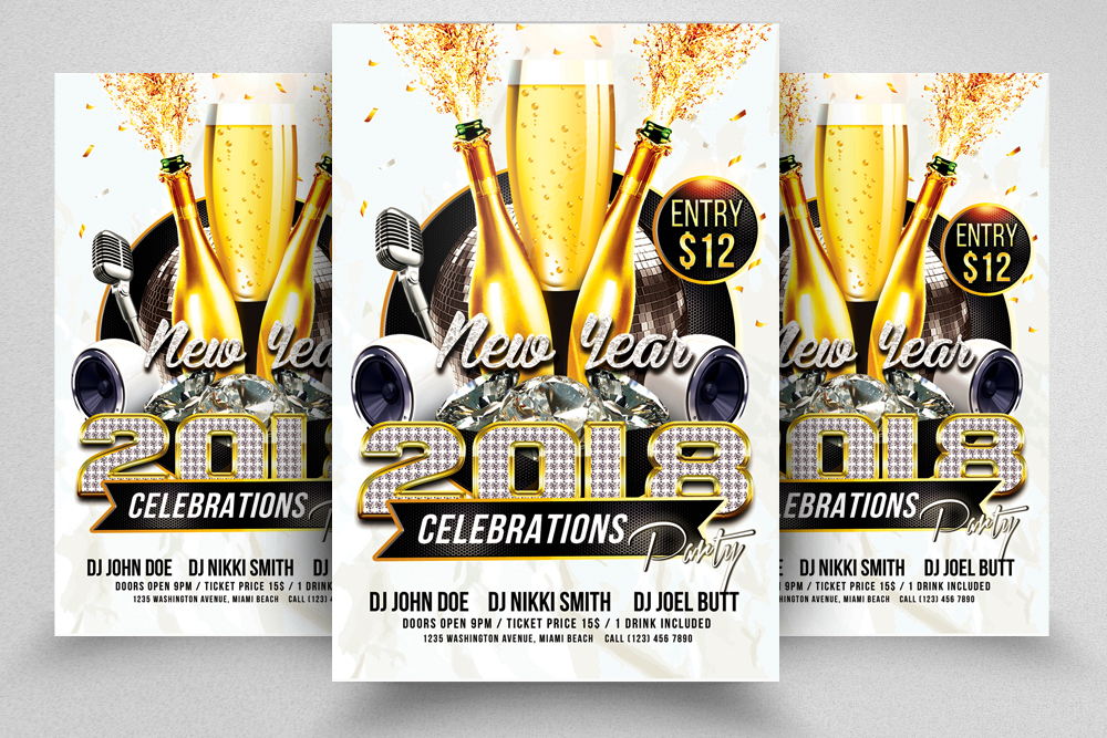 Happy New Year Flyer Templates example image 1