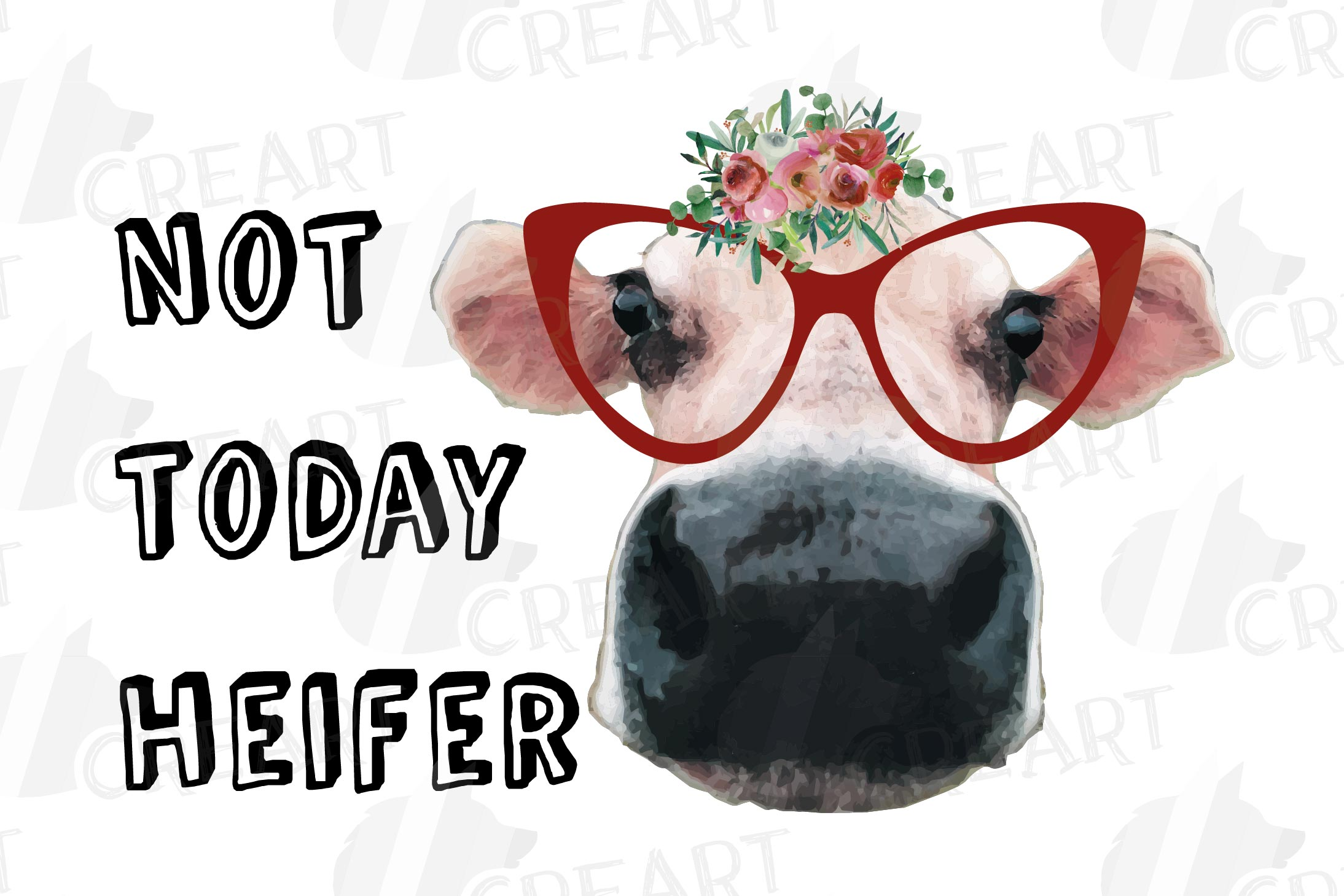 Cows with floral crown clip art. Not today heifer graphic example image 12