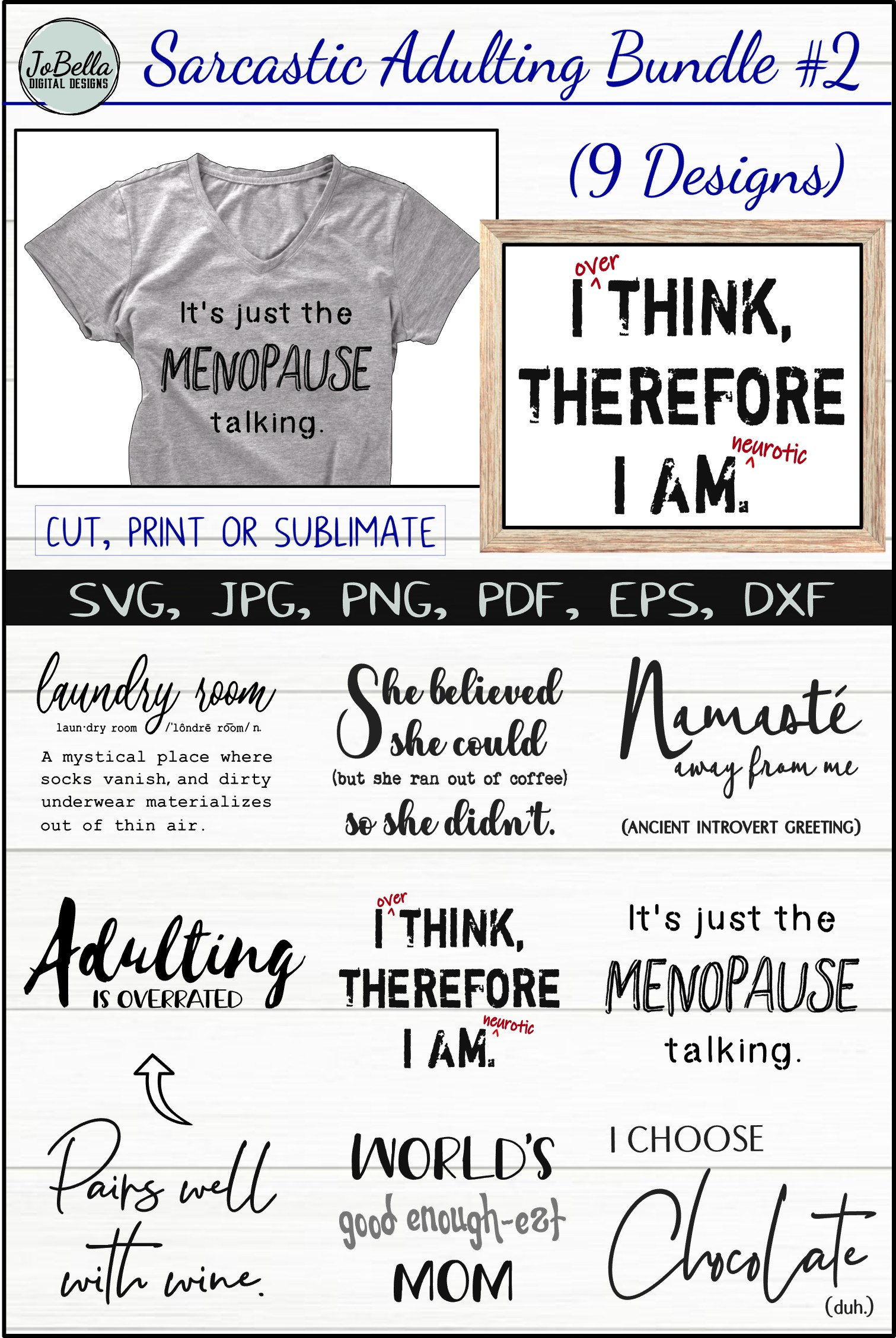 Funny Sarcastic SVG Bundle #2, Sublimation PNGs & Printables example image 11
