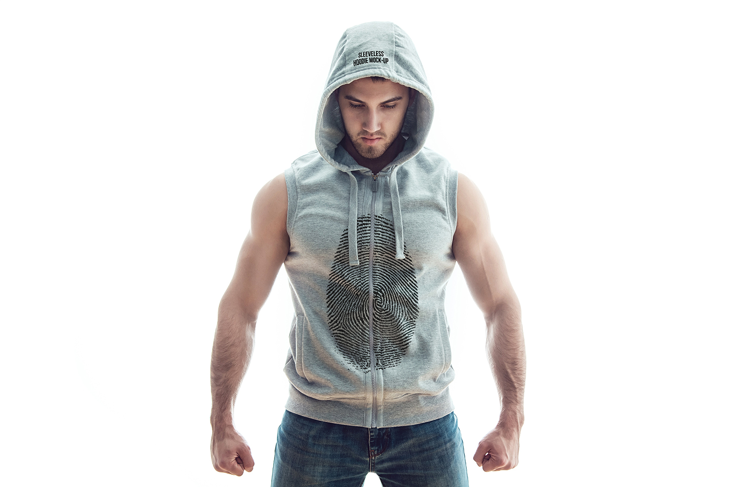 Sleeveless Hoodie Mock-Up example image 10
