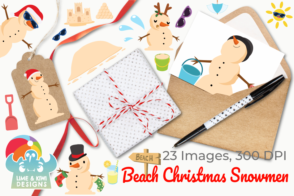 Beach Christmas Snowmen Clipart, Instant Download Vector Art example image 4