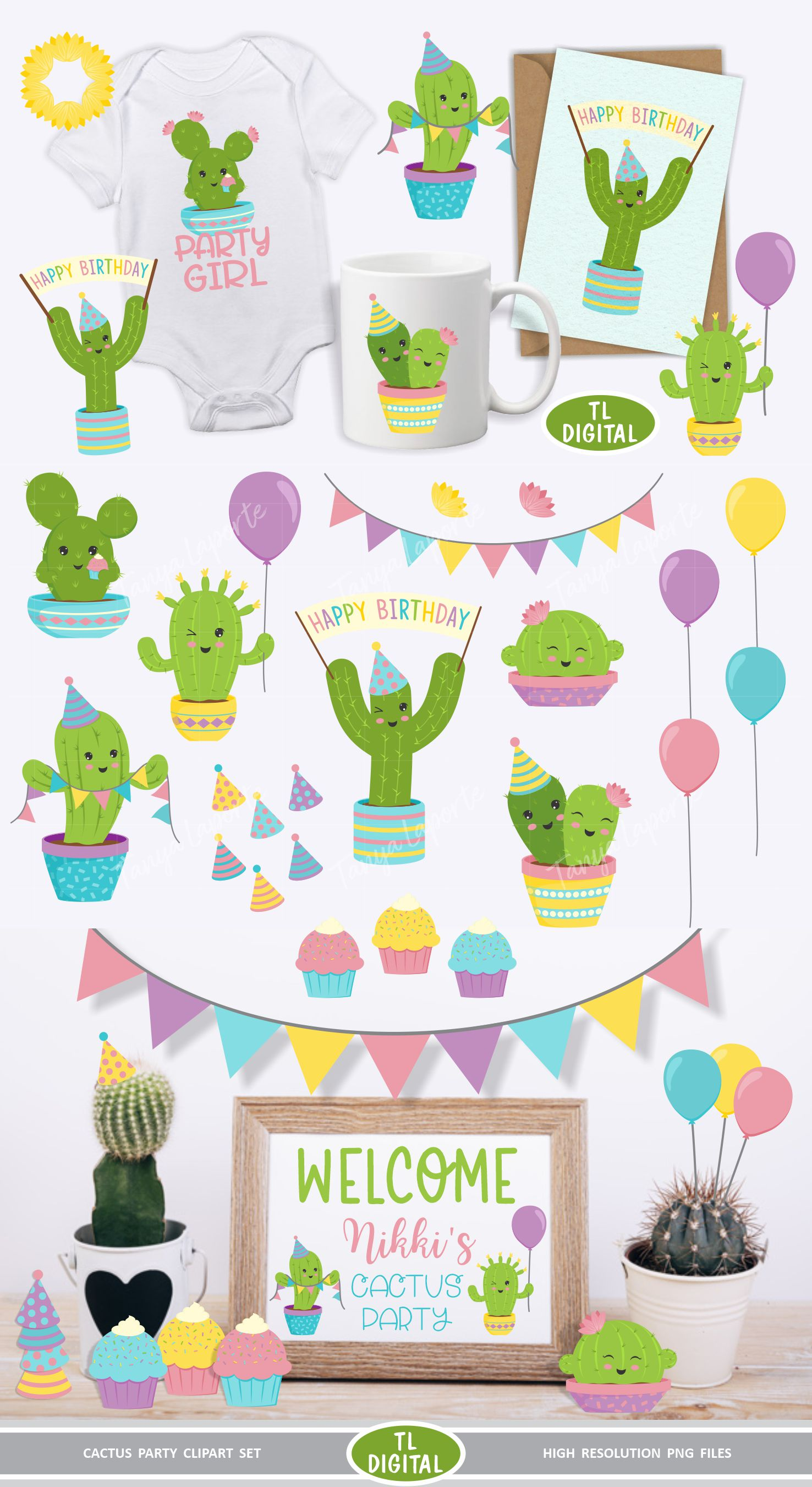 Cactus Party Clipart Set - 22 Birthday Graphics - PNG Files example image 2