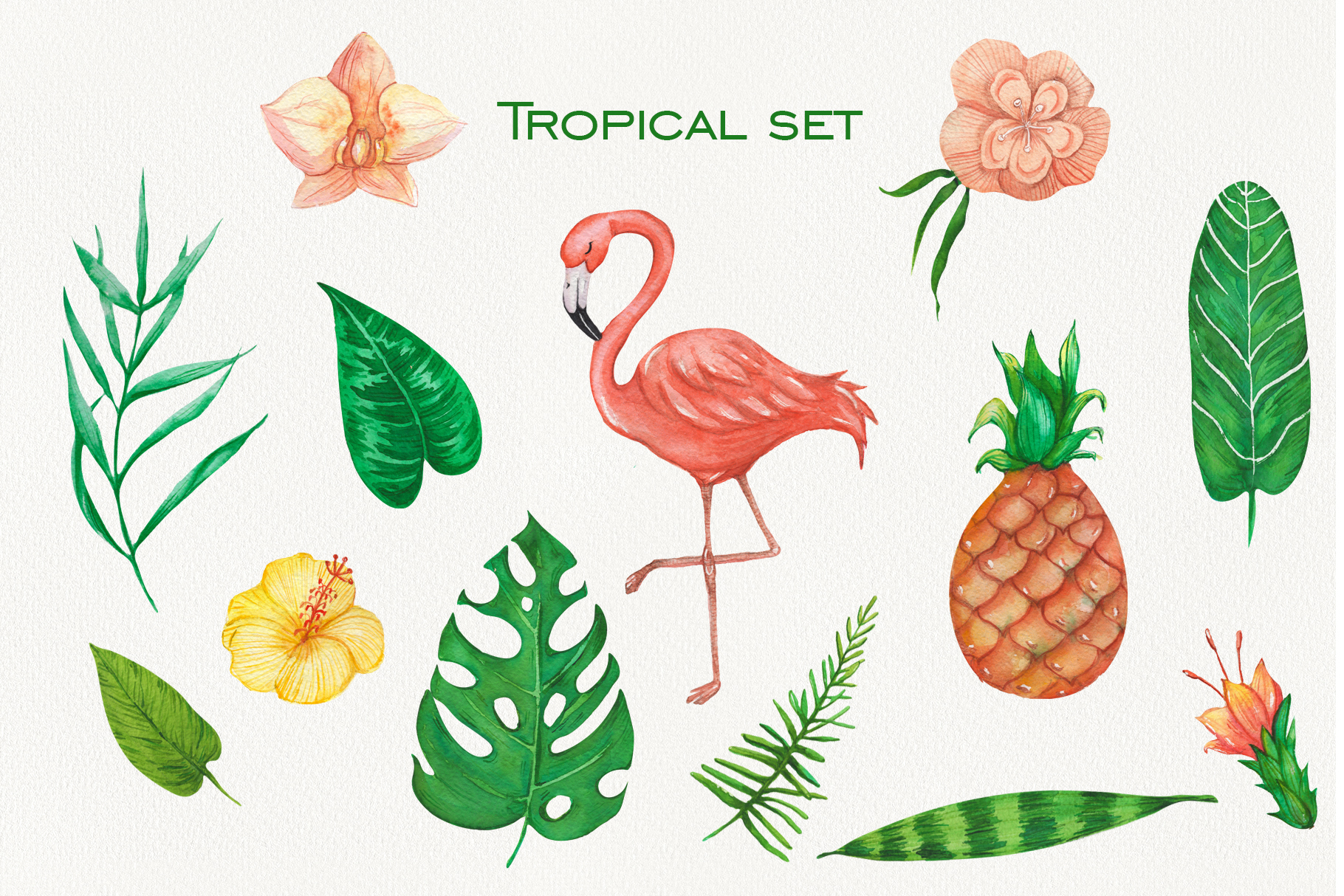Tropical set of watercolor elements with flamingo example image 4