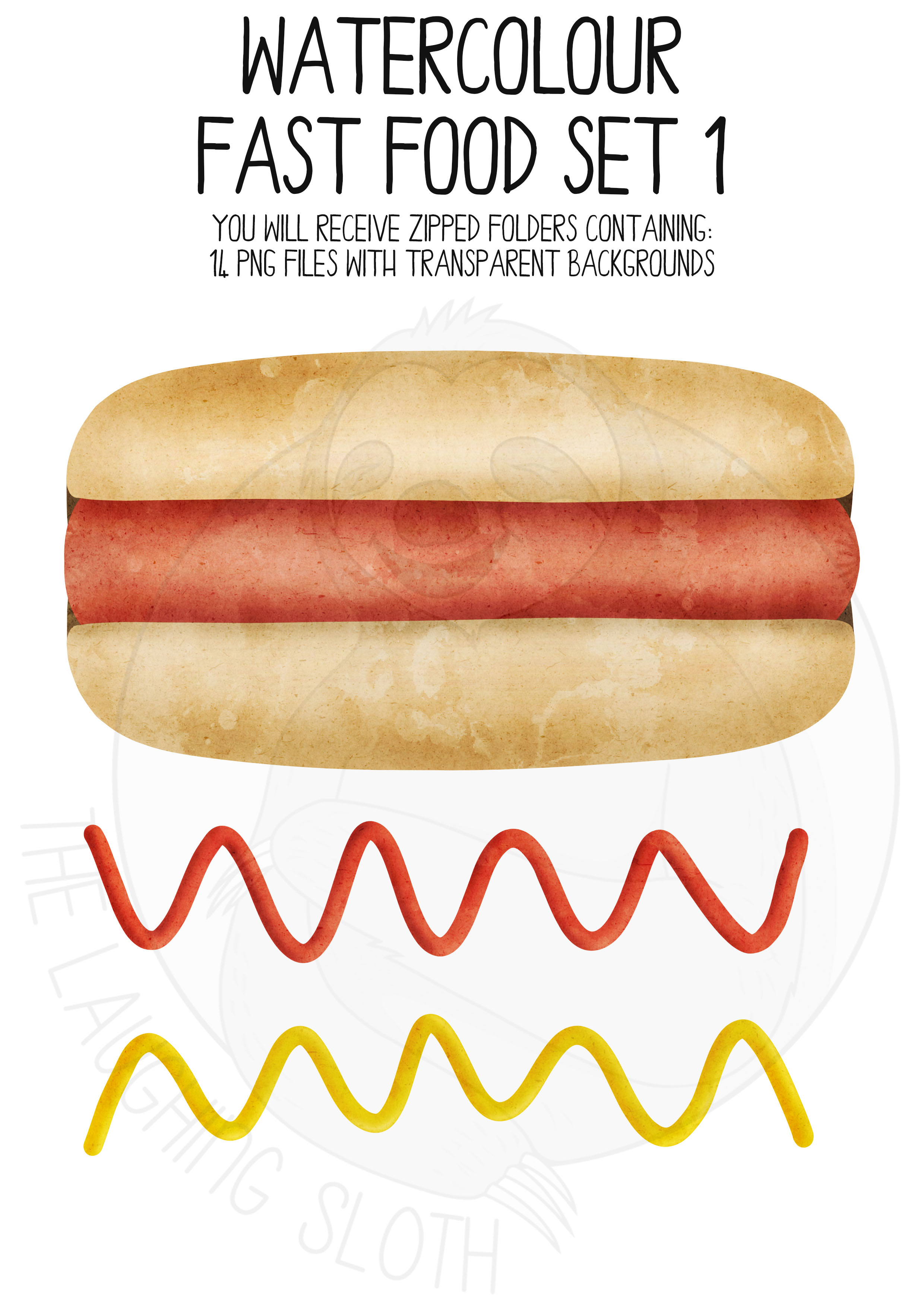 Watercolor Fast Food Clip Art Set example image 5