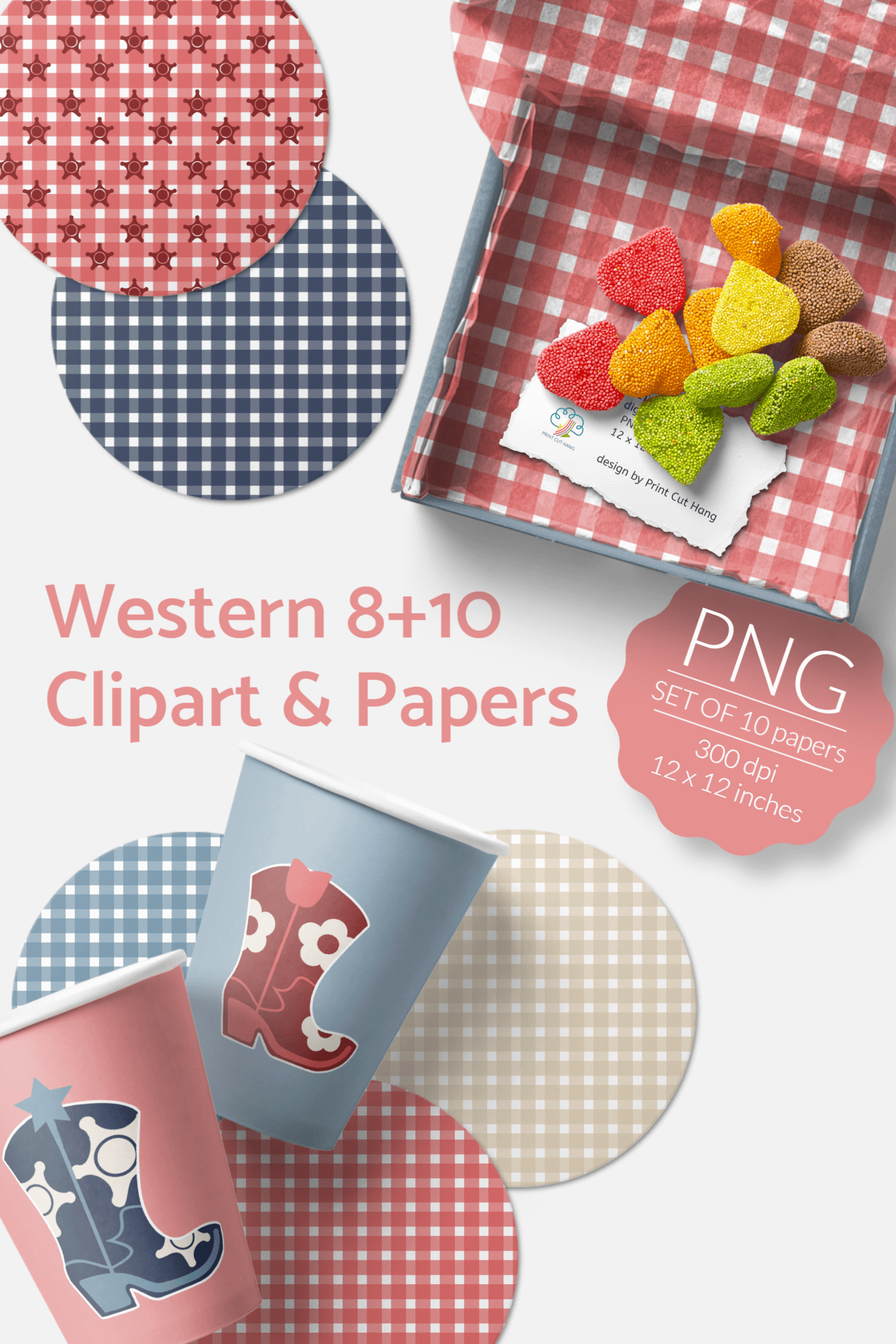 Western Clipart & Gingham Scrapbooking Papers PNG files example image 6