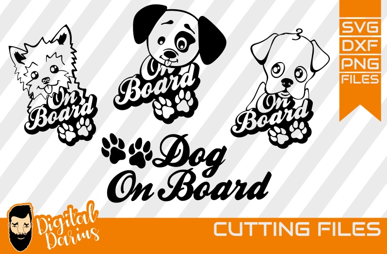4x Dog on Board svg, Mongrel, Puppy, Doggy, Cut File example image 1