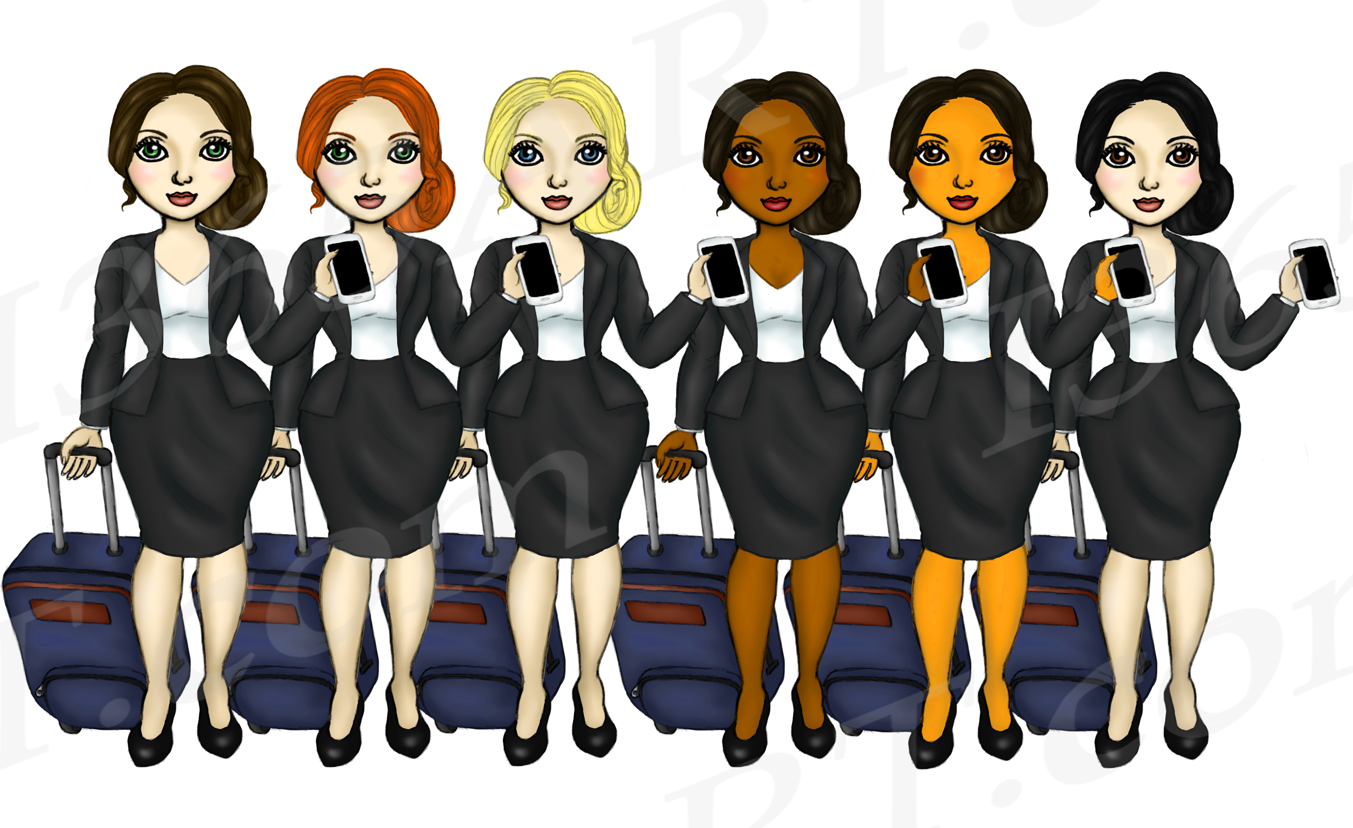 Business Travel Clipart Girls, Fashion Doll Illustrations example image 3