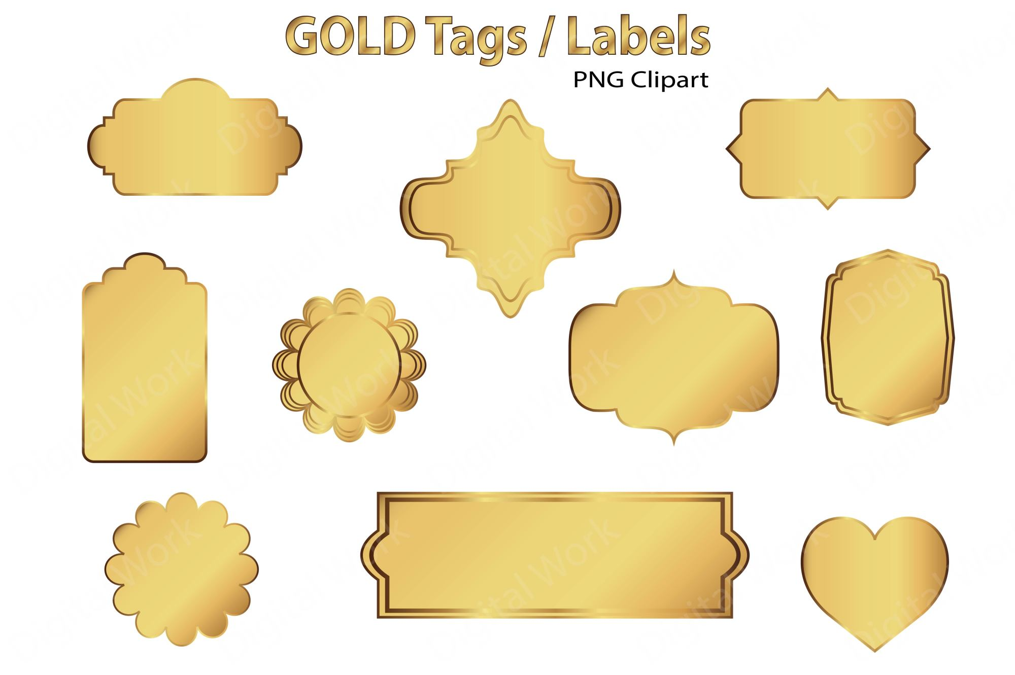 Gold Clip Art Tags and Labels example image 2