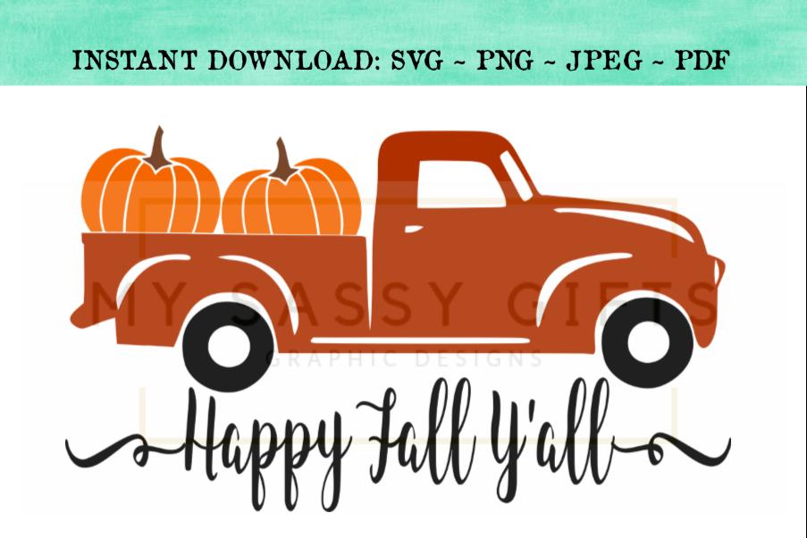Download Happy Fall Y'all Pumpkin Farm Red Truck SVG Design