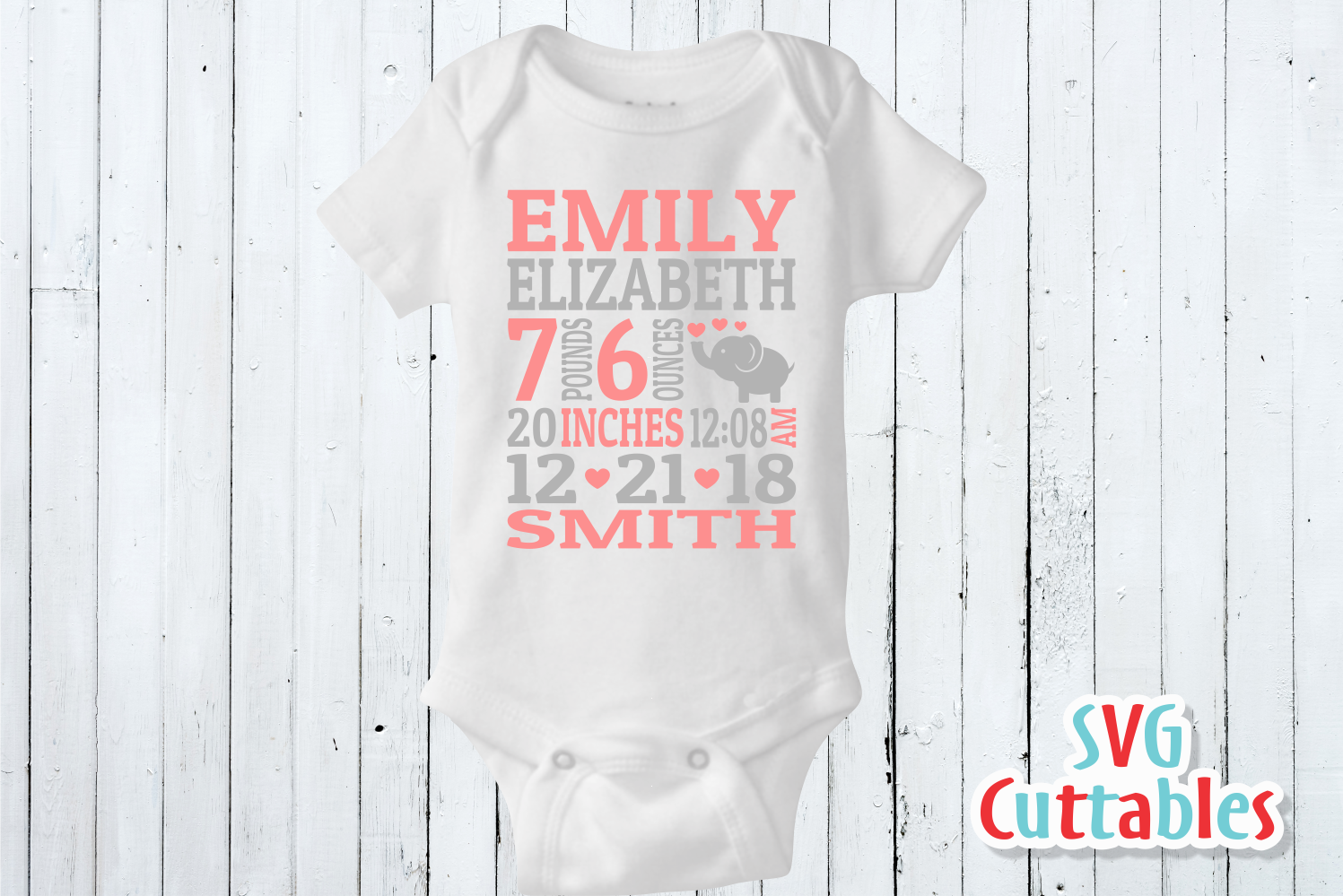 Baby Birth Announcement Template, SVG Cut File example image 3