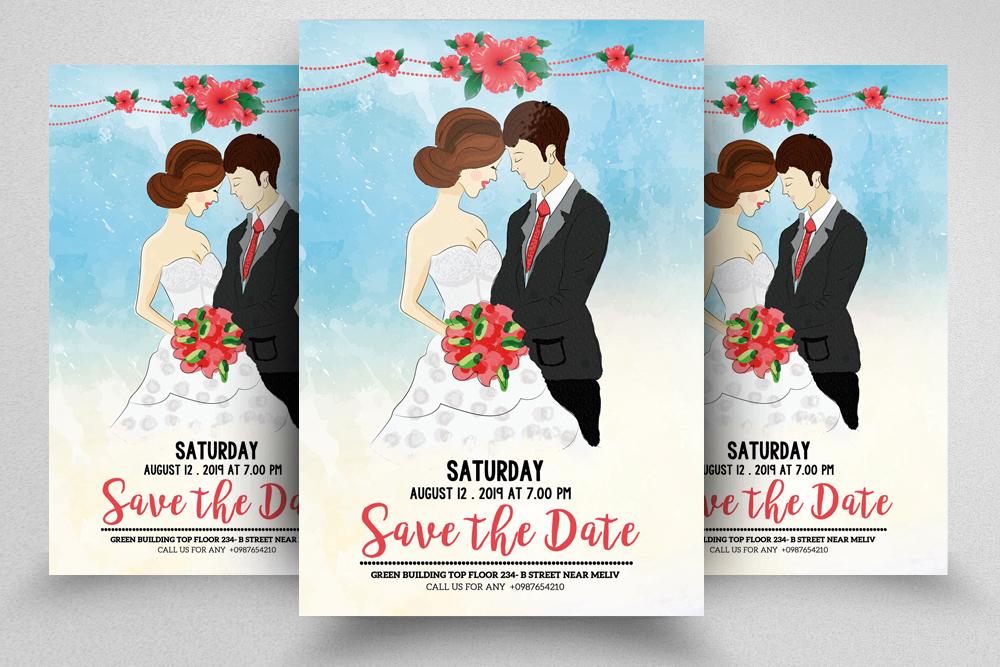 4 Wedding Invitation Flyers Bundle example image 4