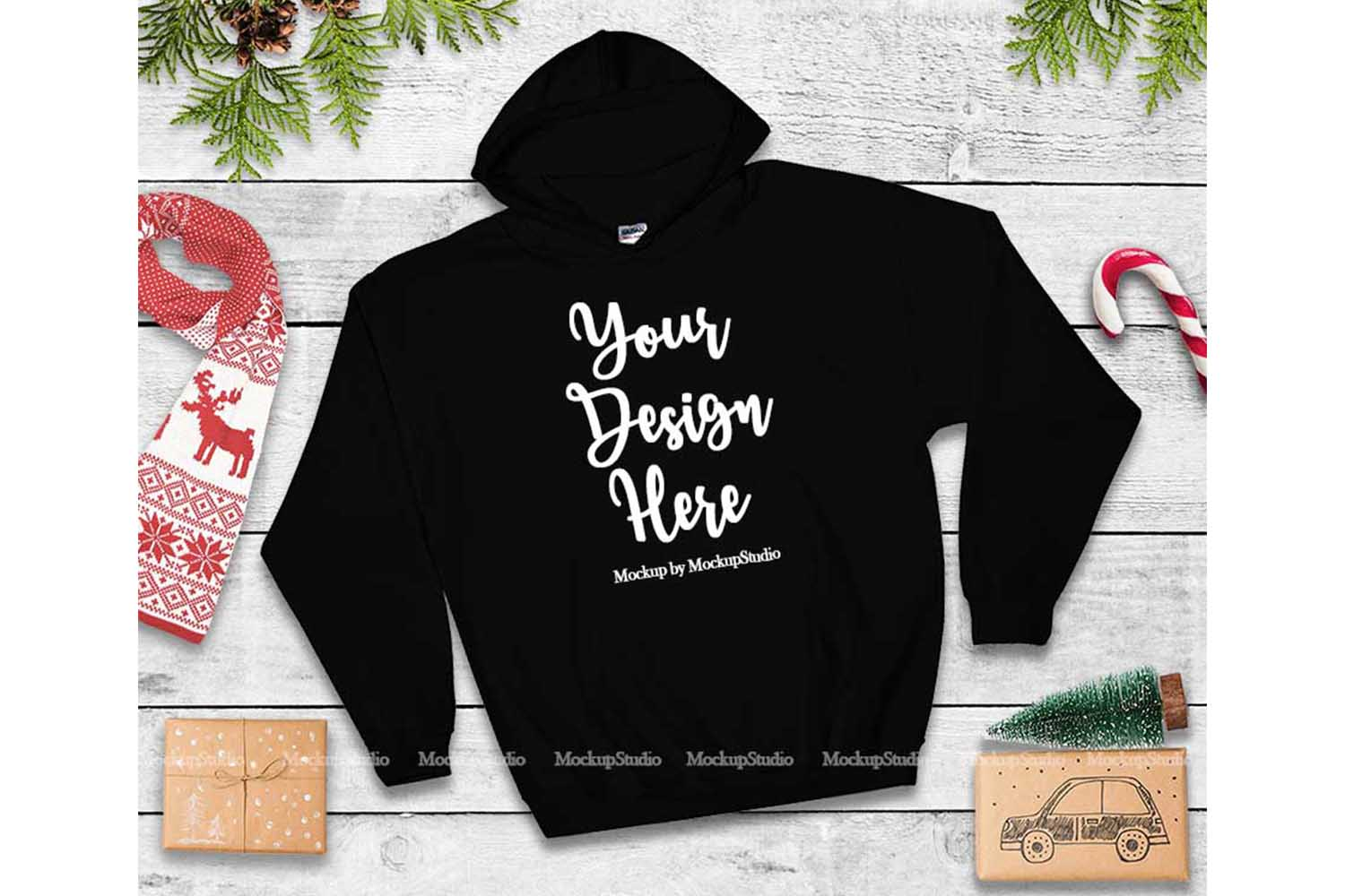 Christmas Black Hoodie Mockup, Winter Holiday Flat Lay example image 1