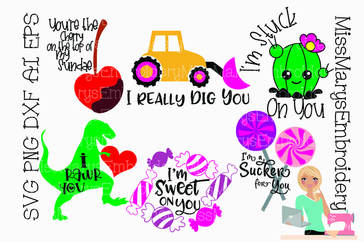 Valentine's Day Bundle SVG Cutting File PNG DXF AI EPS example image 1