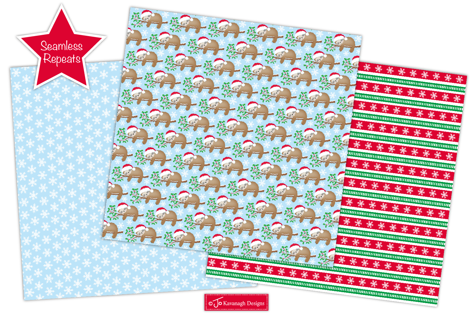 Christmas Sloth Digital Papers, Christmas Patterns -P43 example image 3