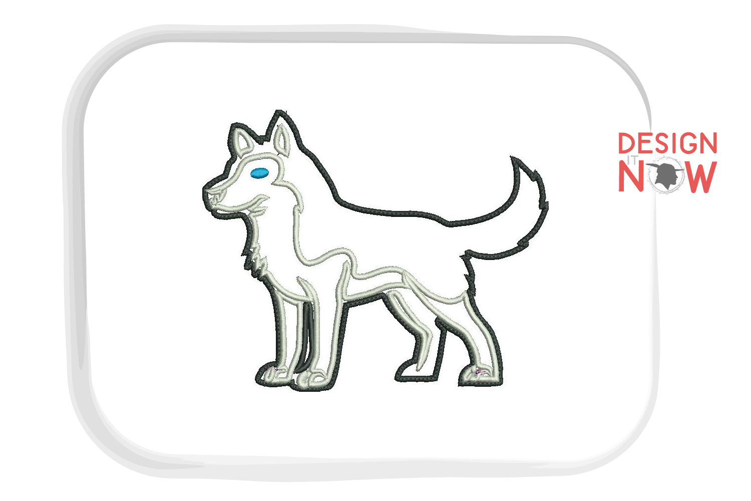 Dog Applique Embroidery Design, Husky Embroidery Pattern example image 1