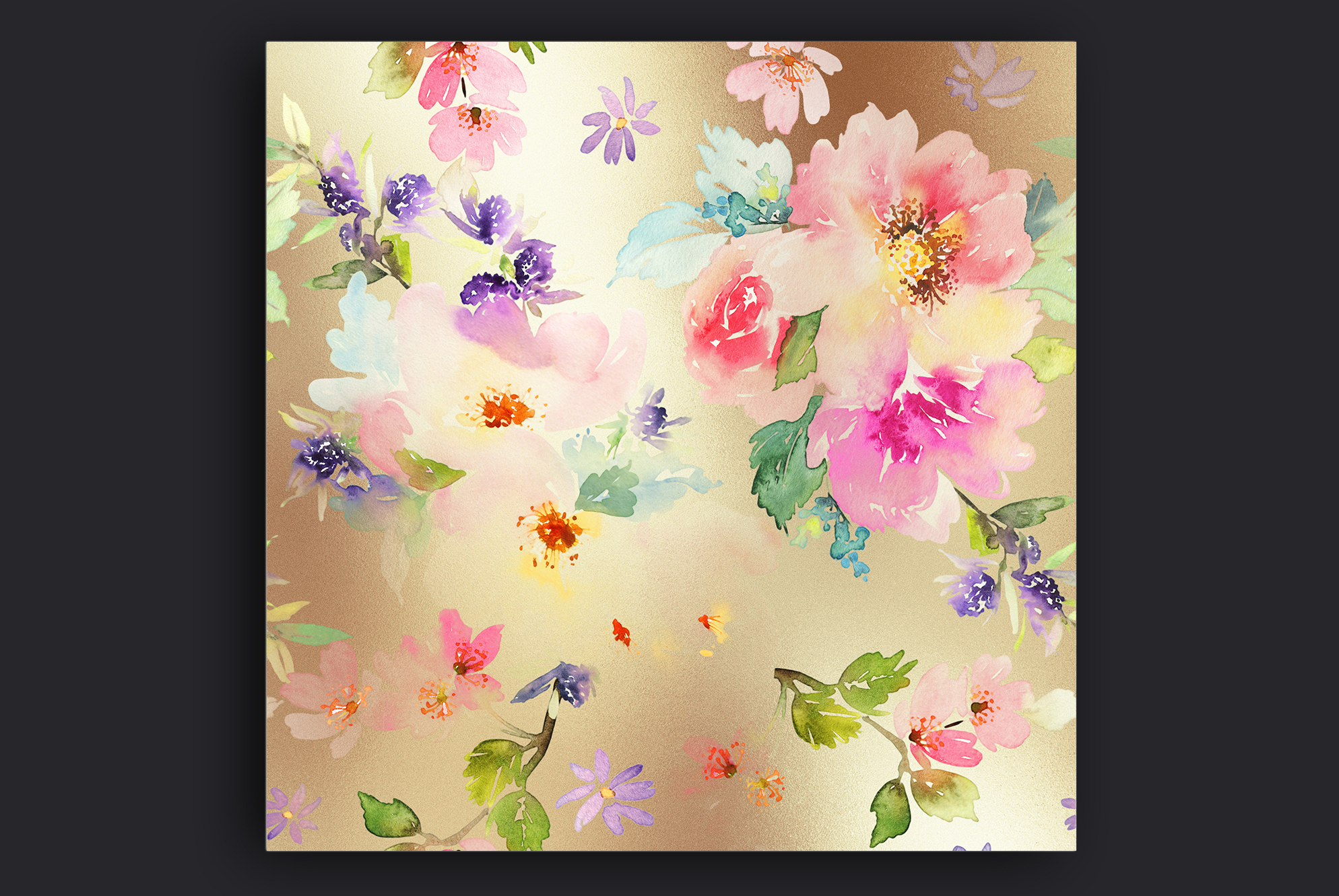 Watercolor Flowers Gold Backgrounds example image 2