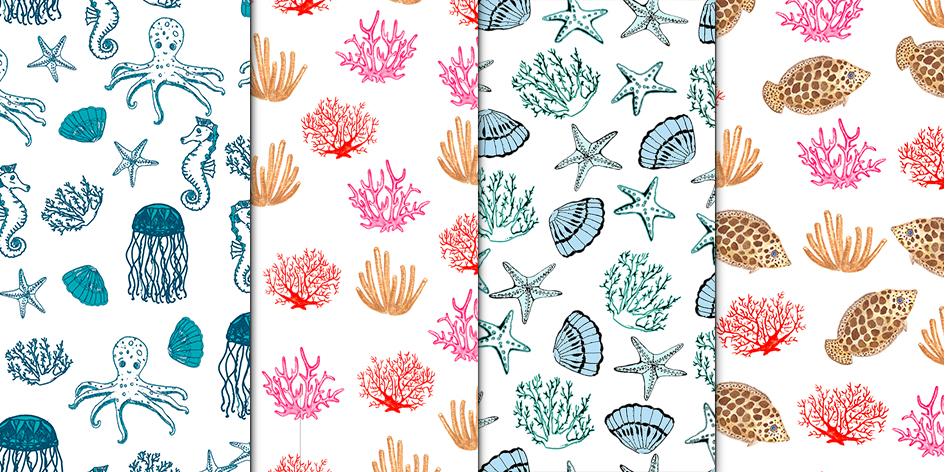 Set of watercolor sea creatures example image 2
